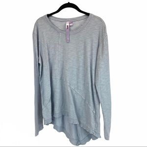 Wilt slant hem blue asymmetrical knit pullover M